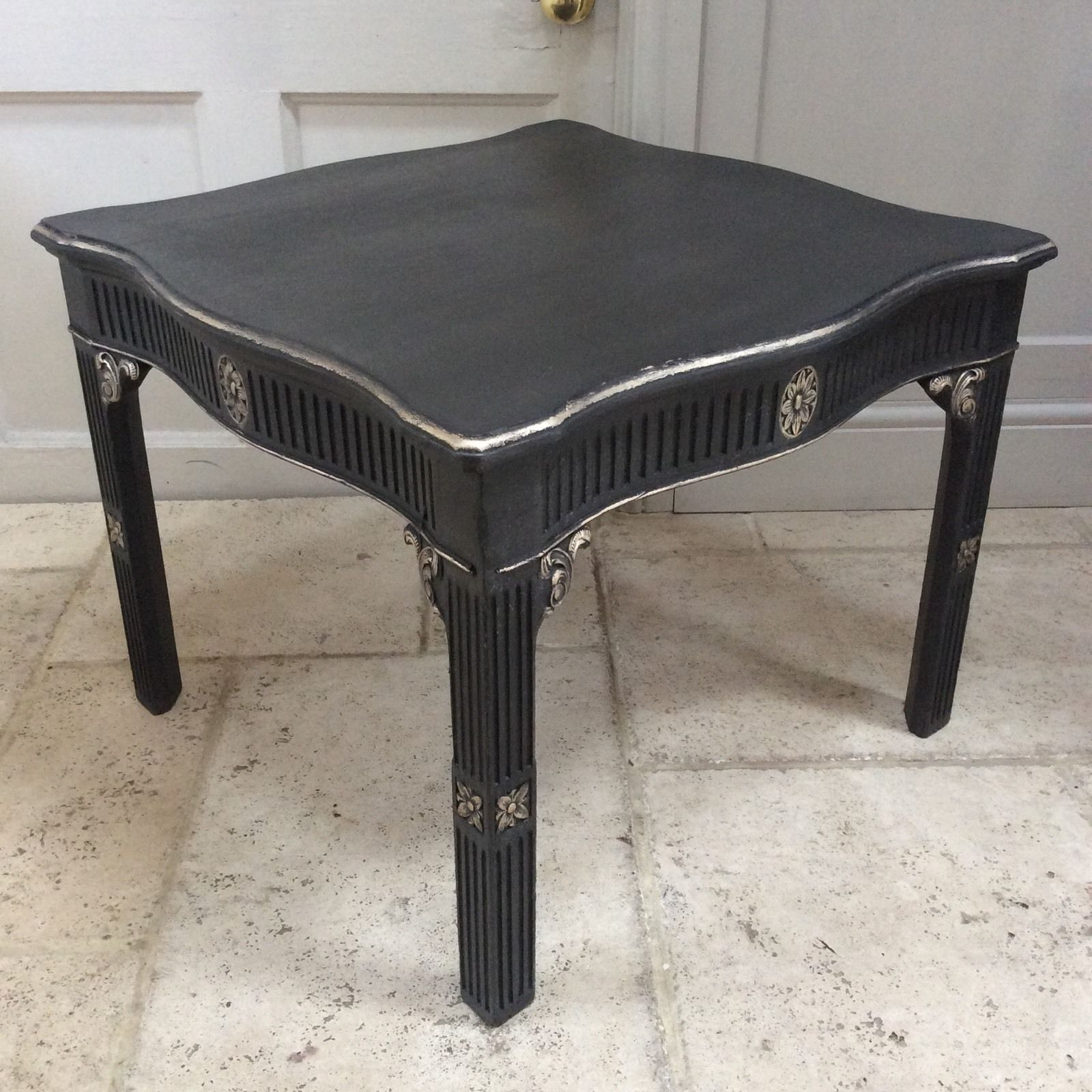 Black Gold Painted Vintage Coffee Occasional Table French